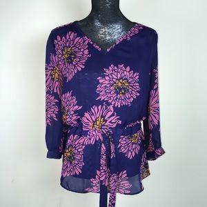 Banana Republic Shirt Top Floral Tropical Purple S